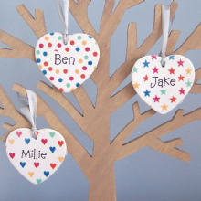 Set of 4 Coloured Hearts, Stars and Spots Ceramic Hearts - Personalised Christmas Tree Decoration